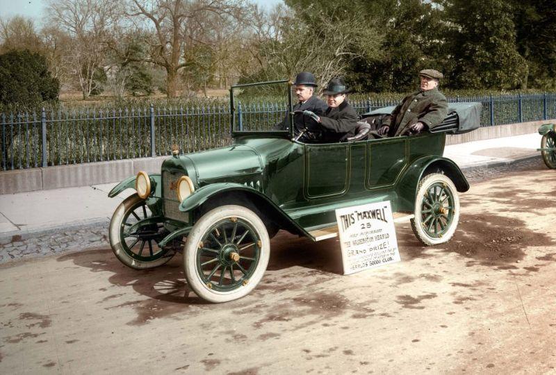 Автомобили и мотоциклы в начале 1900-х годов в цвете