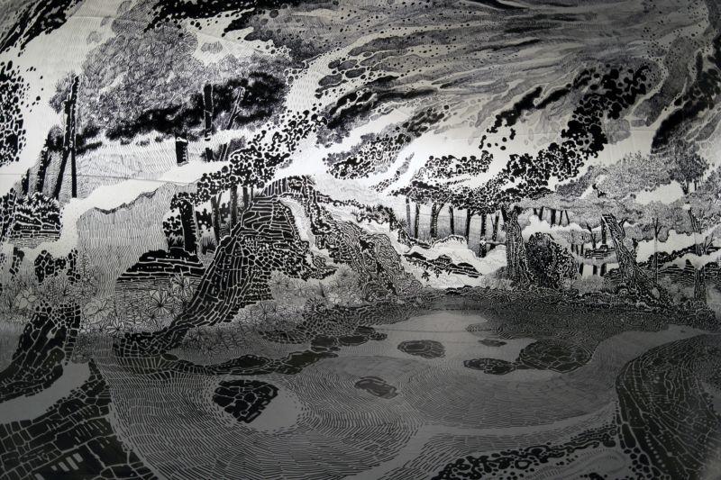 Художник нарисовал черно-белый рай, в который можно зайти