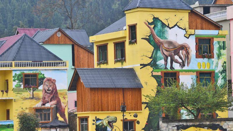 Китайскую деревушку разукрасили 3D-муралами
