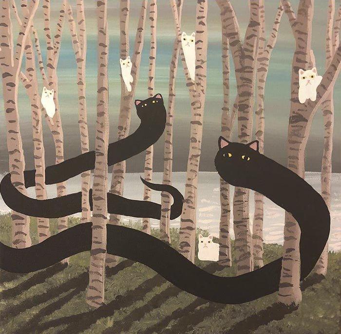 Коты на странных картинах Даниала Райана