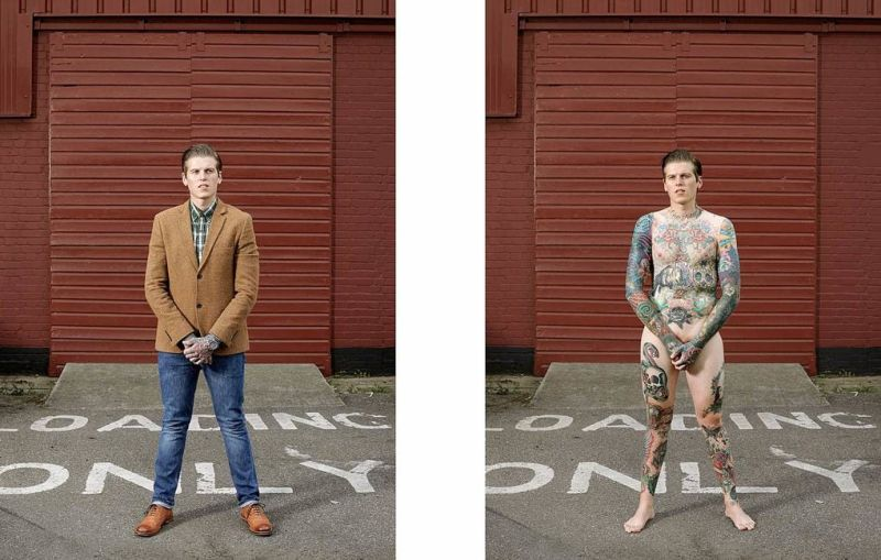 Татуированные люди в одежде и без