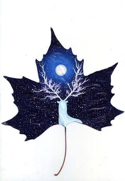 Романтические картины на листьях от влюблённой пары