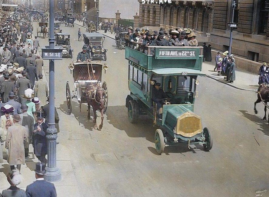 Раскрашенные кадры Нью-Йорка 1920-х годов