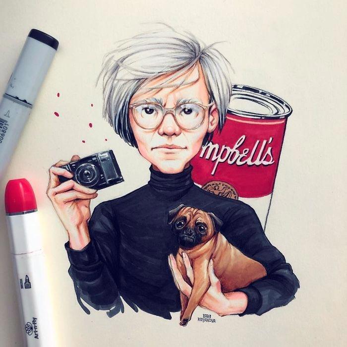 Художница рисует знаменитых персонажей в очаровательном стиле