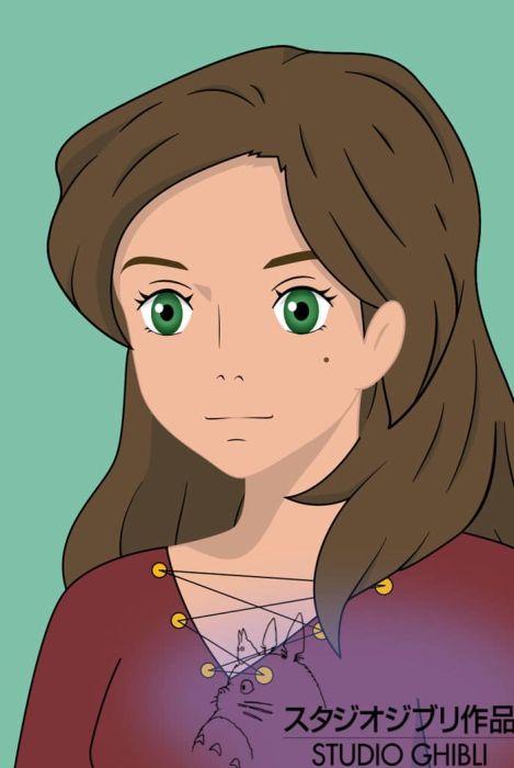 Художница изобразила себя в образе героев мультфильмов