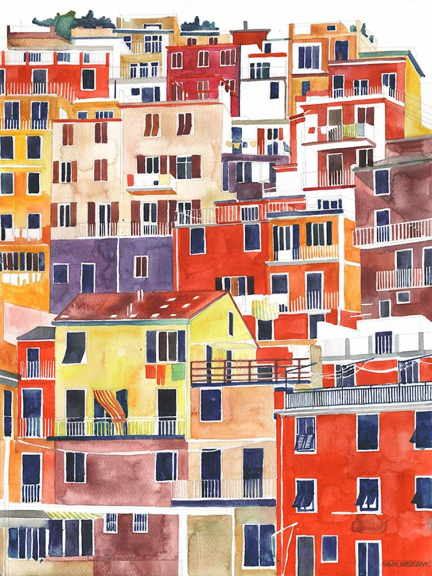Архитектурные достопримечательности в акварельных рисунках Майи Вронской