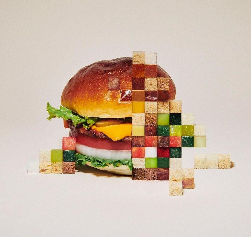 Пиксели из еды и фруктов