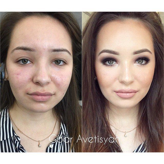 Девушки с макияжем и без