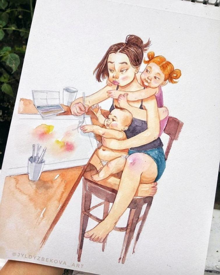 Художница рисует повседневную жизнь с детьми