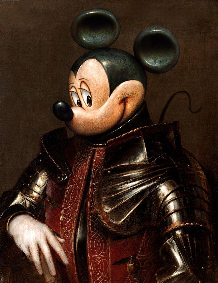 Животные и персонажи поп-культуры на старинных портретах