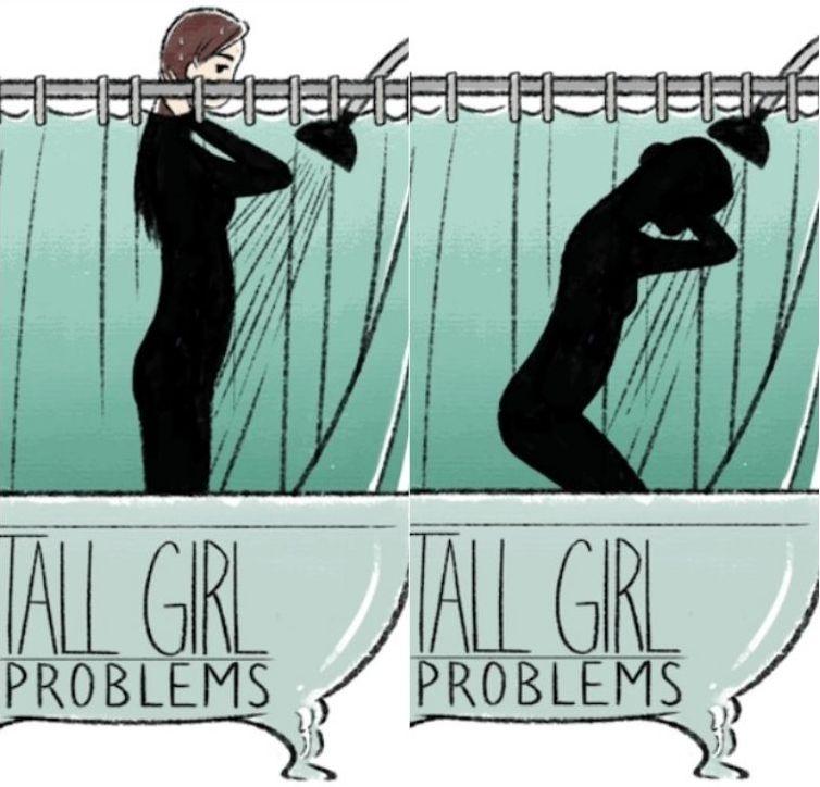 Художница иллюстрирует проблемы высоких и низких девушек