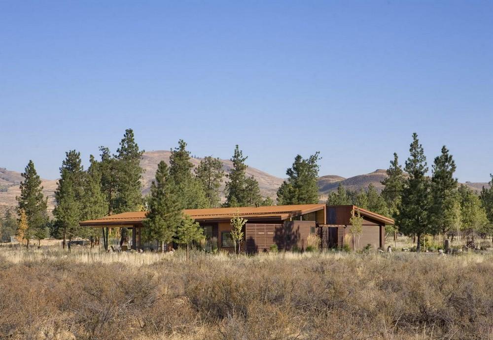 Ржавый дом на лугу в США