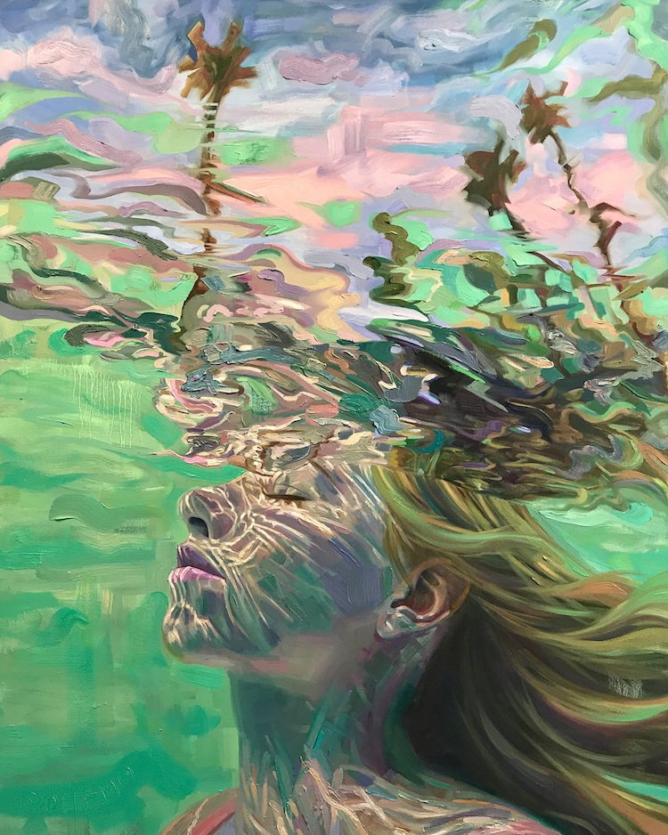 Женщины в воде на летних картинах Изабель Эмрих