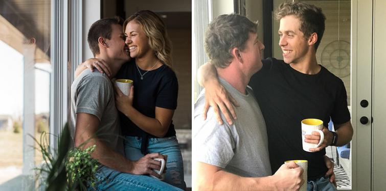 Друзья воссоздали фотографии влюблённой пары смешным образом