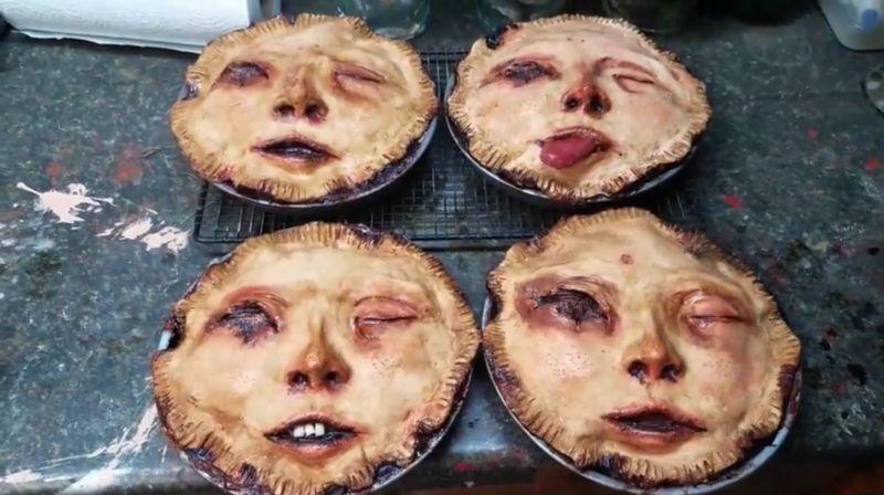 Жуткие пироги в виде уродливого лица пользуются спросом