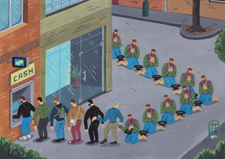 Художник рисует яркие карикатуры, но они не кажутся смешными