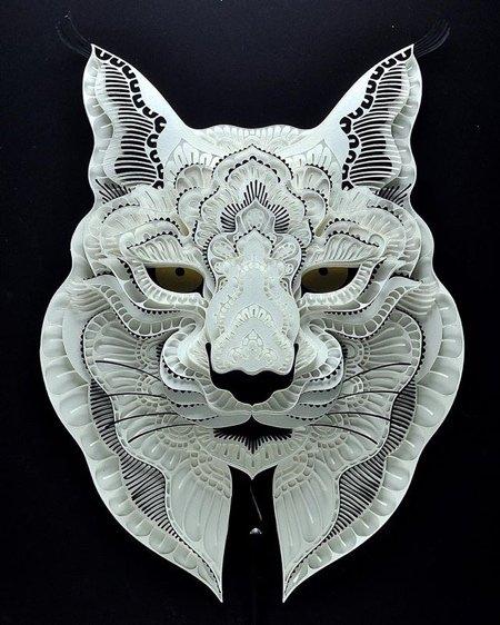Многослойные бумажные скульптуры животных