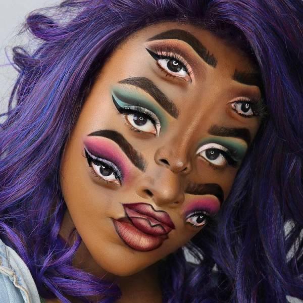 Оптические иллюзии на лице при помощи макияжа