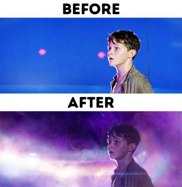 Современные кинофильмы до и после добавления спецэффектов