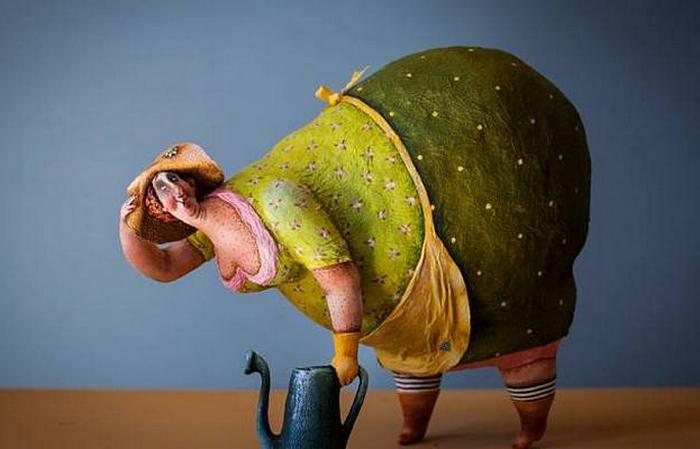 Милые толстушки из папье-маше от Екатерины Гусевой
