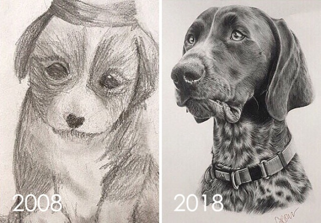 Прогресс мастерства художников в рисунках