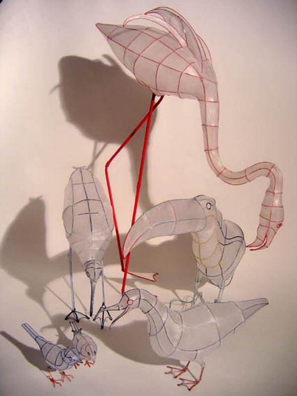 Скульптуры из проволоки и бумаги от Polyscene