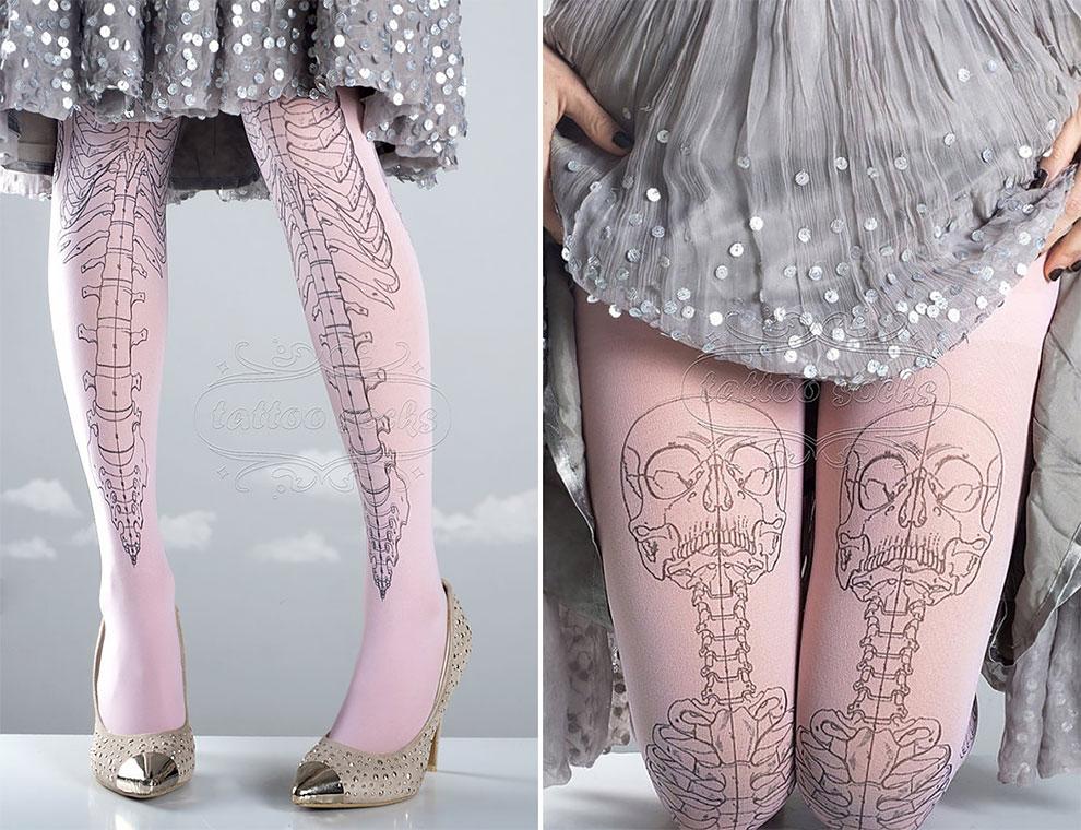 Модные колготки с оригинальными узорами: татуколготки