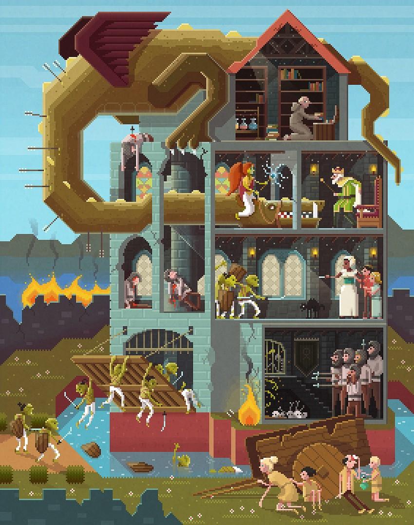 Интересные пиксельные иллюстрации от Octavi Navarro