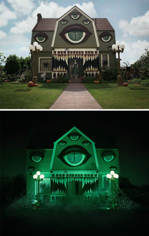 Крутые декорации домов к Хэллоуину