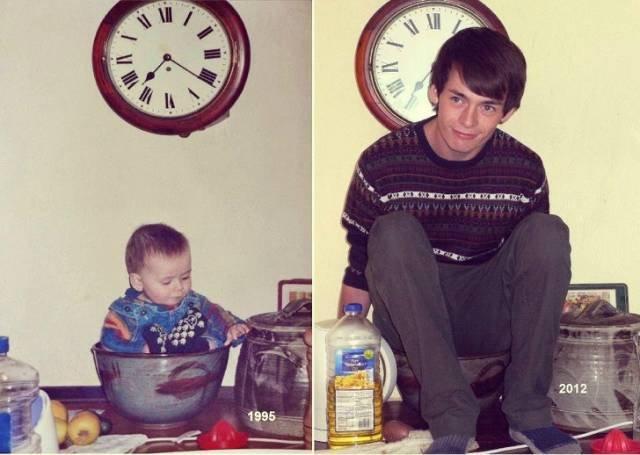 Интернет-пользователи воссоздают свои детские фотографии