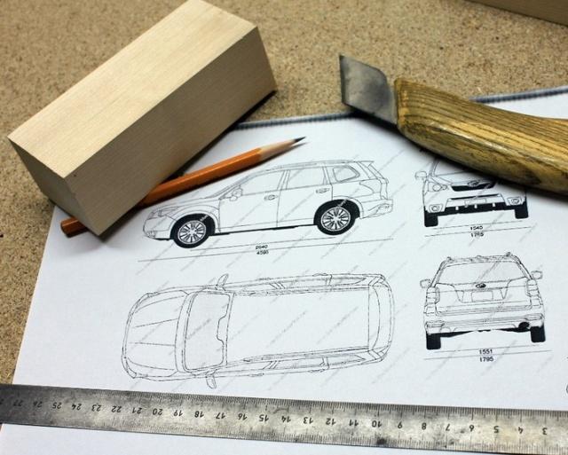 Деревянная модель кроссовера Subaru Forester