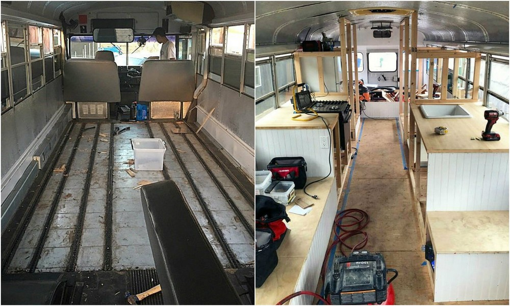 Пара решила жить и путешествовать в школьном автобусе