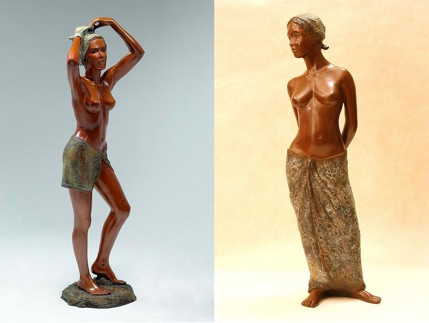 Фигуры обнаженных женщин скульптора Бриджит Темен
