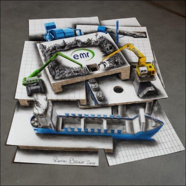 Невообразимые 3D-рисунки на бумаге
