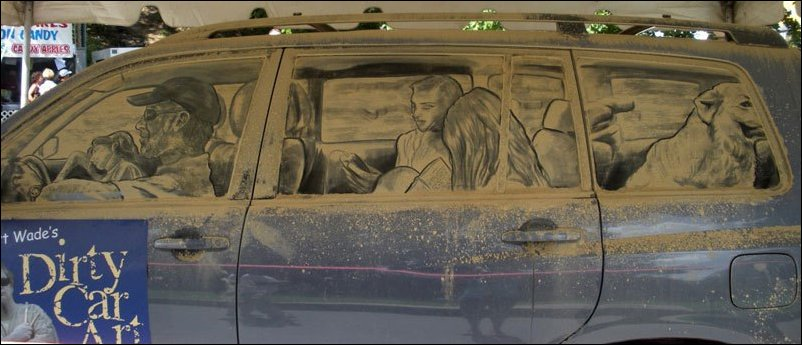 Грязные автомобили как произведения искусства