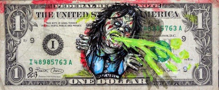 Рисунки на однодолларовых купюрах