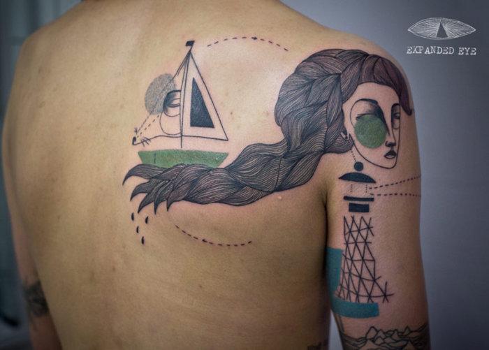 Необычные татуировки в стиле кубизм