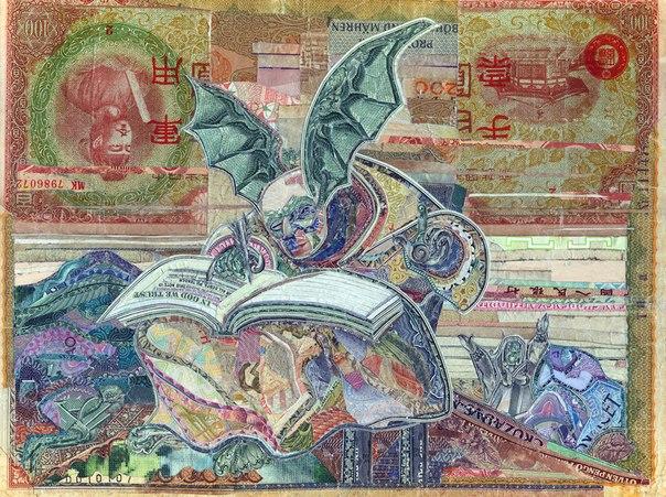 Коллажи из денег разных стран мира