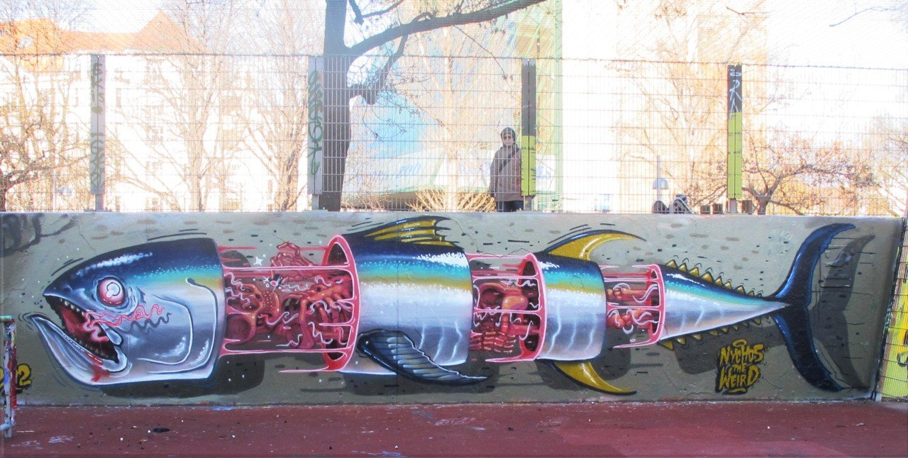 Необычный стрит-арт от уличного художника Nychos