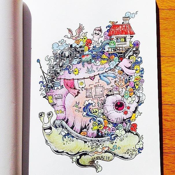 Раскраска для взрослых: Вторжение дудлов - Zefirka