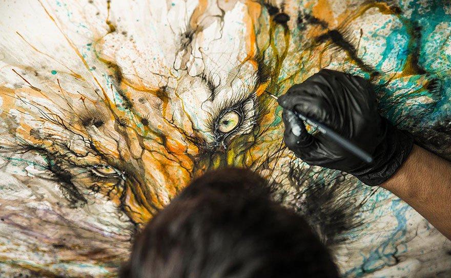 Портреты животных и брызги от пролитых чернил