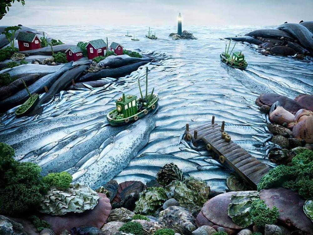 Пейзажи из еды от Карла Уорнера