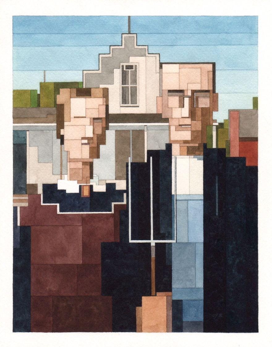 Знаменитые полотна на 8-битных картинах Адама Листера