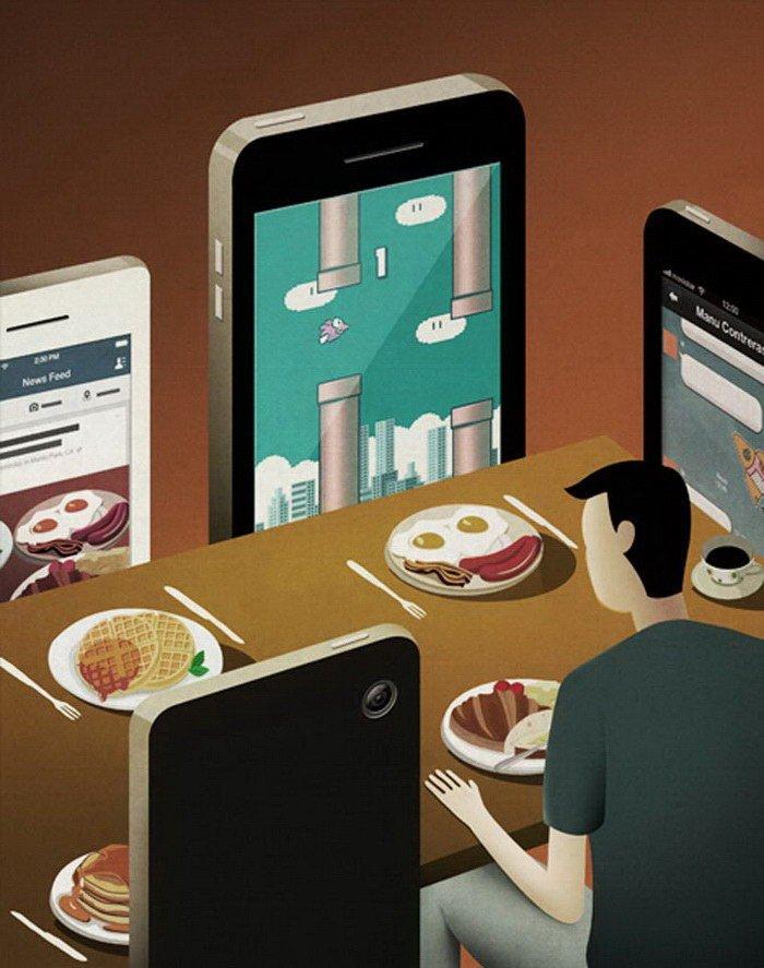 Ироничные иллюстрации о современном обществе