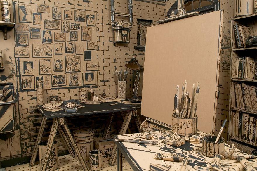 Мастерская художника из картона