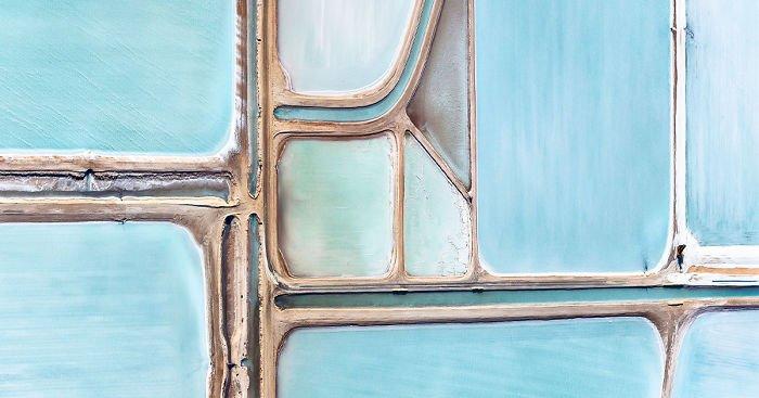 Соляные поля в Австралии с воздуха
