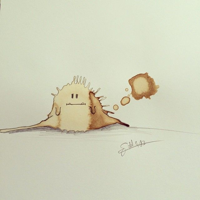 Прикольные монстры из кофейных пятен