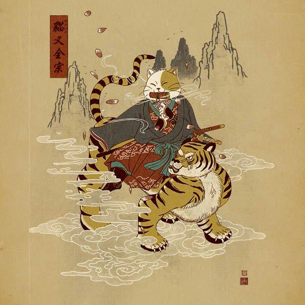 Котики в образе самураев от Уильяма Чуа