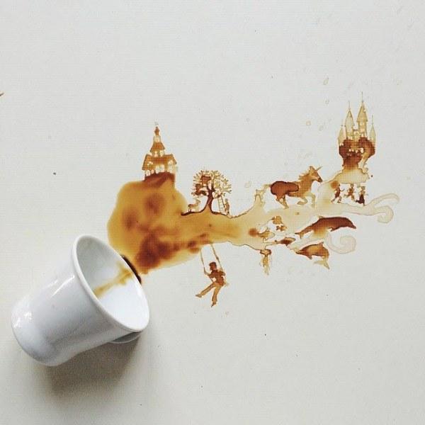 Картины из пролитого кофе