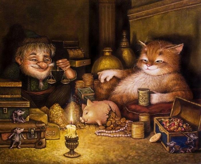 Сказочный мир добрых котов от Александра Маскаева
